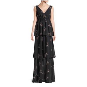 BCBGeneration Tiered Floral Chiffon Maxi D…